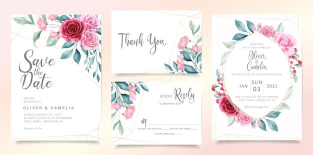 Moderne bloemen bruiloft uitnodiging kaartsjabloon ingesteld met elegante aquarel bloemen en bladeren.