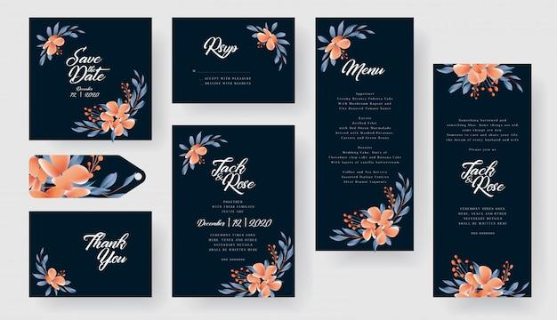 Moderne bloemen bruiloft uitnodigingskaart collectie