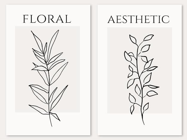 Moderne bloemen esthetische handgetekende posters collectie lijn kunststijl botanische elementen vector