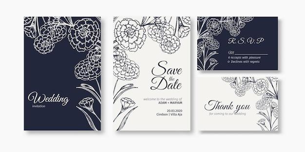 Moderne bloemen overzicht hand getrokken bruiloft uitnodiging ontwerp of kaartsjablonen voor bruiloft