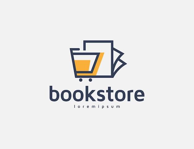 Moderne boekhandel logo ontwerp illustratie