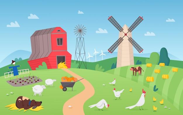 Moderne boerderij met schattige dieren cartoon afbeelding achtergrond.