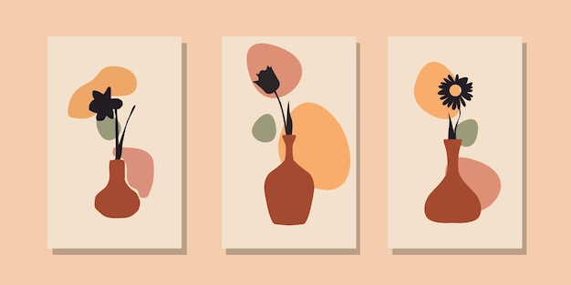 Moderne boho hedendaagse bloemenvaas abstracte poster sjablooncollectie