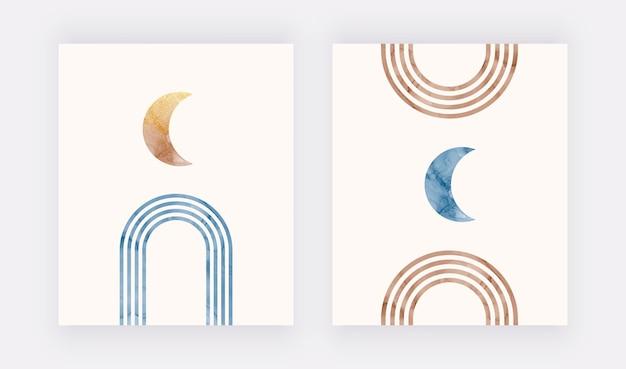 Moderne boho kunst aan de muur met regenbogen en maan