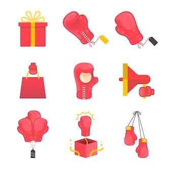 Moderne boksen icoon collectie