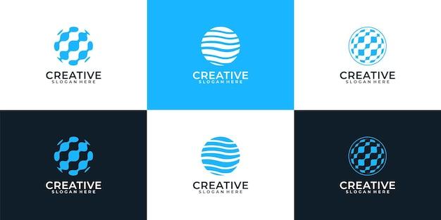 Moderne bol element globe planeet logo ontwerp inspiratie