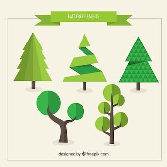 Moderne bomen verpakken in plat design