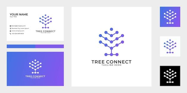 Moderne boom verbindt logo-ontwerp en visitekaartje