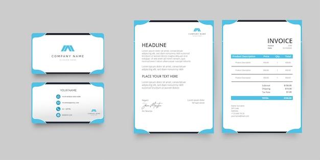 Moderne briefpapiercollectie met blauw visitekaartje, briefpapier en factuur
