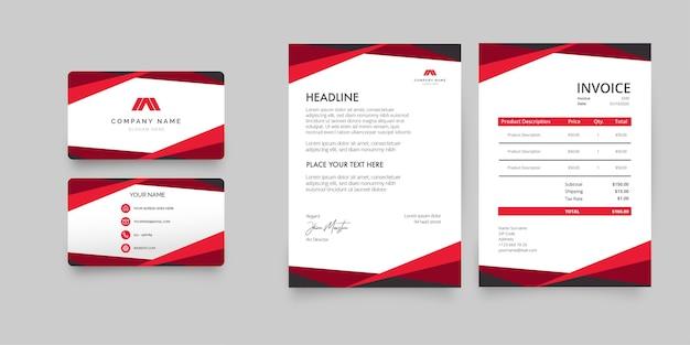 Moderne briefpapiercollectie met rood visitekaartje, briefpapier en factuur