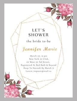 Moderne bruids douchekaart met waterverf