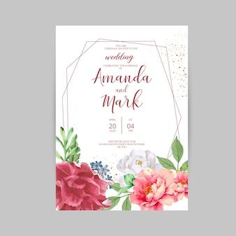 Moderne bruiloft uitnodiging kaartsjabloon met bloemen thema