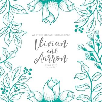 Moderne bruiloft uitnodiging met aquarel bloemen elementen
