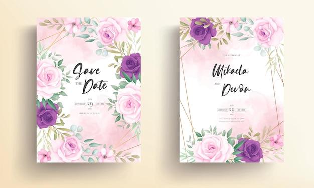 Moderne bruiloft uitnodigingskaart met mooi bloemenornament
