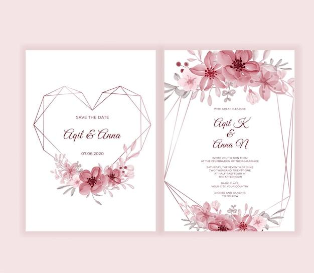 Moderne bruiloft uitnodigingskaart met mooie roze bloemen
