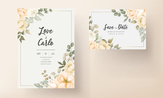 Moderne bruiloft uitnodigingskaart met prachtige bloemen Gratis Vector