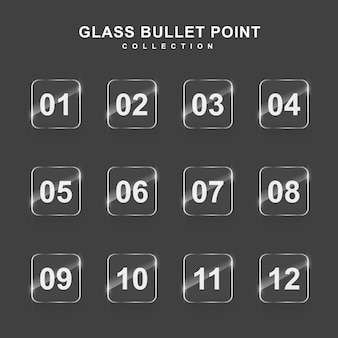 Moderne bulletpoint-collectie met glaseffect
