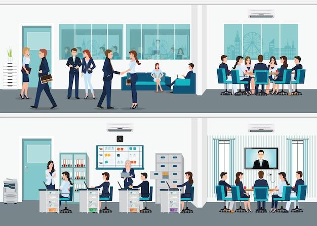 Moderne bureau binnenlandse ruimte met bureau.