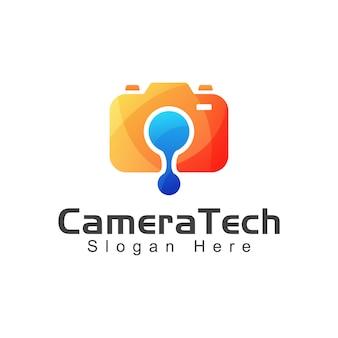 Moderne cameratechnologie of camera elektrisch verloop logo ontwerpsjabloon