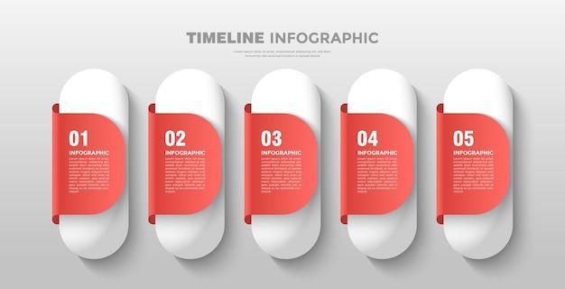 Moderne capsule tijdlijn zakelijke infographic sjabloon
