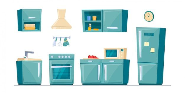 Moderne cartoon keukenmeubelset