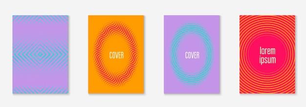 Moderne catalogus. oranje en roze. kunststof mobiel scherm, behang, patent, presentatieconcept. moderne catalogus met minimalistische geometrische lijn en trendy vormen.