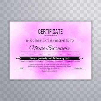 Moderne certificaat roze ontwerpsjabloon
