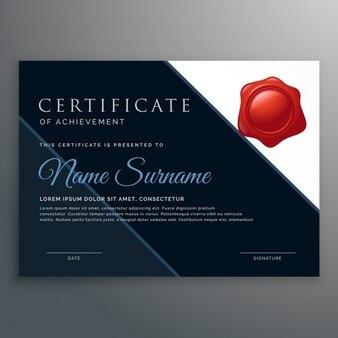 Moderne certificaat van prestatie ontwerp