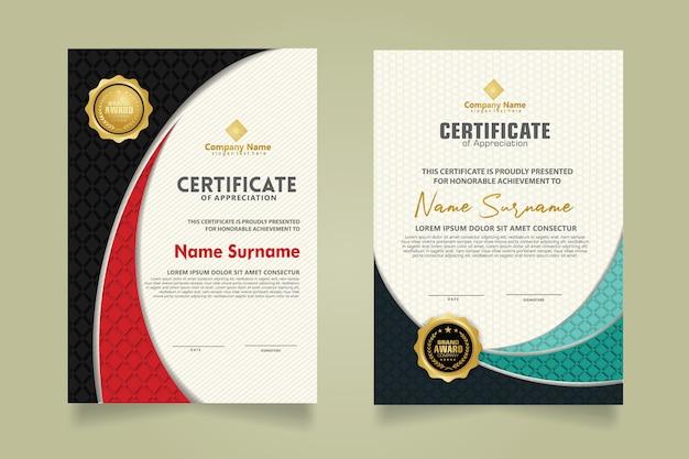 Moderne certificaatsjabloon instellen met realistische diamantvormige textuur op het ornament en de moderne patroonachtergrond. formaat a4.