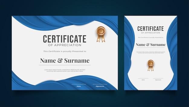 Moderne certificaatsjabloon met blauw papier gesneden stijl