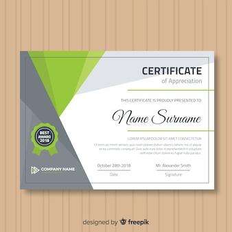 Moderne certificaatsjabloon met plat ontwerp