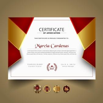 Moderne certificaatsjabloon met rode vormen