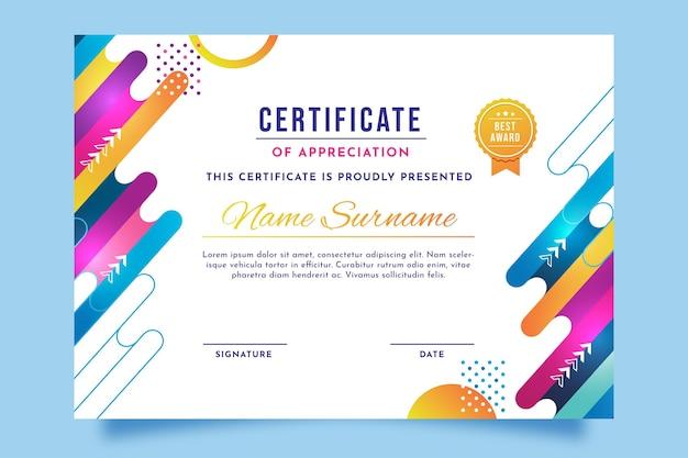 Moderne certificaatsjabloon met verloop