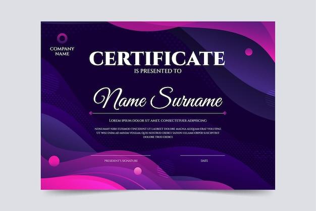 Moderne certificaatsjabloon Gratis Vector