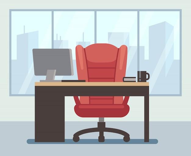 Moderne chefruimte met groot venster en laptop op bureau.