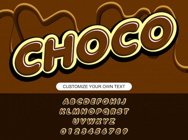 Moderne chocolade gewaagde trendy bewerkbare typografie