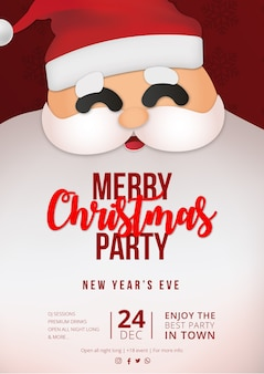 Moderne christmas party poster met claus-achtergrond