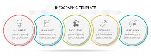 Moderne cirkel tijdlijn infographic sjabloon 5 opties.