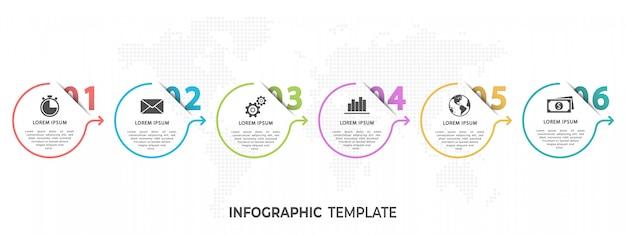 Moderne cirkel tijdlijn infographic zes opties of stappen.