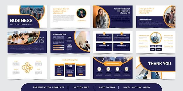 Moderne cirkel zakelijke dia's bewerkbare powerpoint presentatiesjabloon