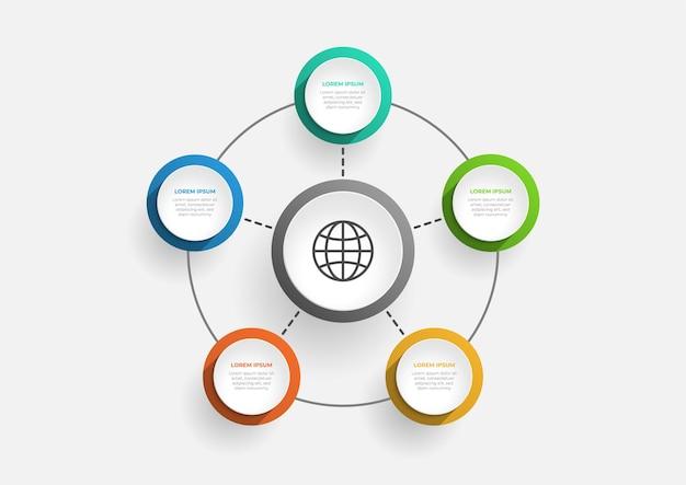 Moderne cirkelgrafiek infographic sjabloon met 5 opties vector zakelijke sjabloon voor presentatie