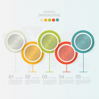 Moderne cirkels infographics 5 element en pictogrammen