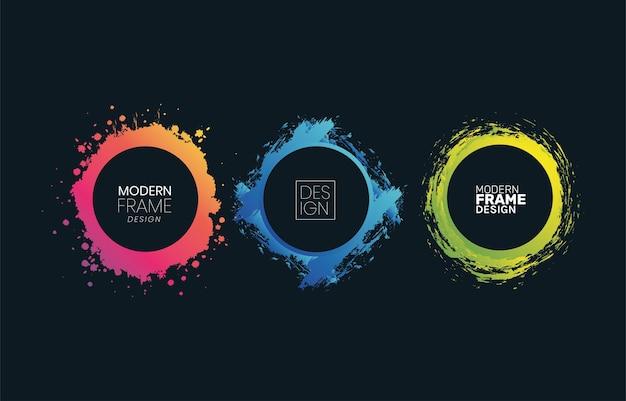Moderne cirkels kaders groenachtig blauw en roze plonsontwerp van decoratief elemententhema