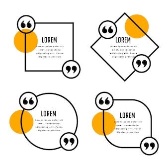 Moderne citaten sjabloon in lijnstijl