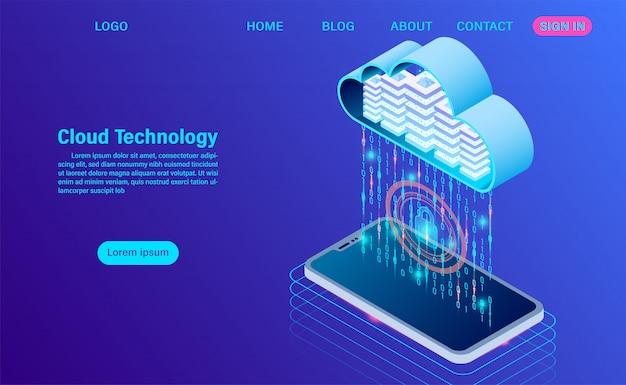 Moderne cloudtechnologie en netwerk bestemmingspagina sjabloon