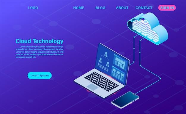 Moderne cloudtechnologie en netwerken. online computertechnologie. groot gegevensstroom verwerkingsconcept, internet-gegevensdienstenillustratie
