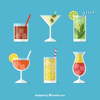 Moderne cocktailcollectie met plat ontwerp