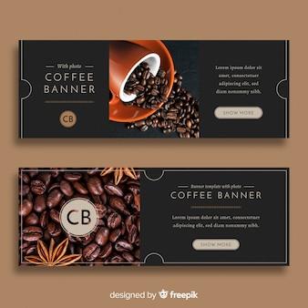 Moderne coffeeshopbanners met foto