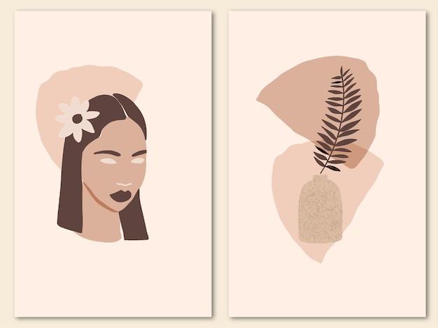 Moderne collage met abstracte vrouw gezicht organische vormen tropisch blad in pot trendy minimalistische poster