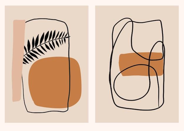 Moderne collectie met tropische bladeren uit het midden van de eeuw en lijntekeningen minimalistische kunstwerken